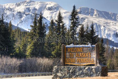 welcome to alaskas kenai peninsula sign