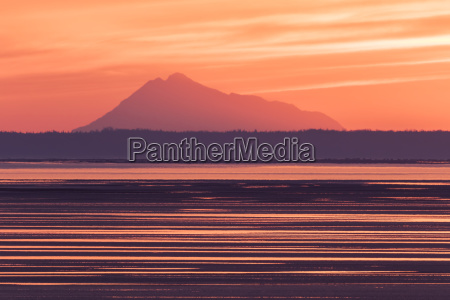 colorful sunset along turnagain arm at