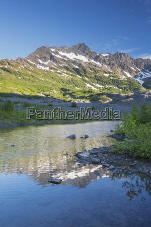 melt water pond glacier moraine vegetation