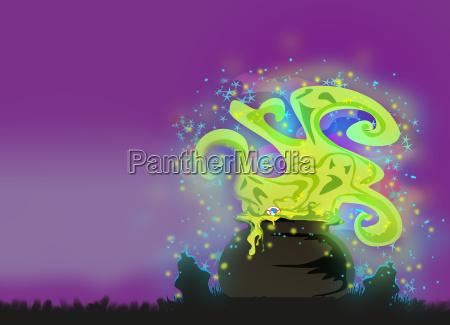 cauldron with a boiling magic potion