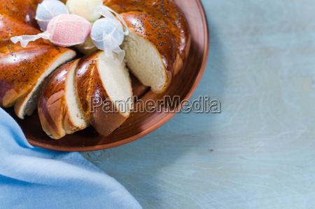 easter sweet bread wicker homemade sliced