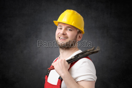happy smiling plumber