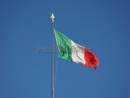 italian flag of italy over blue