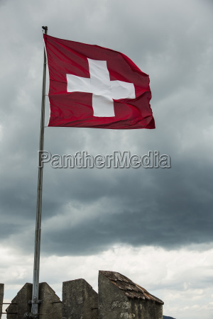 low angle view of swiss flag