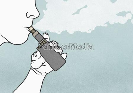 cropped image of man smoking electronic