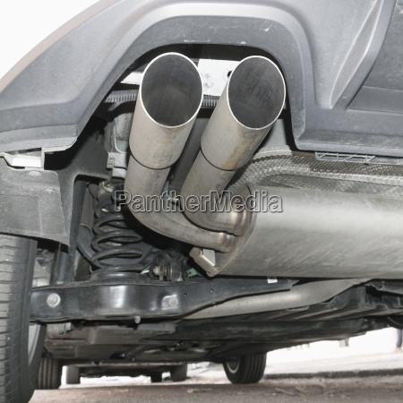 close up of car exhaust pipes