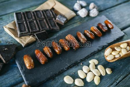 dates dark chocolate almonds and dried