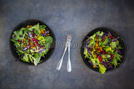 bowl of mixed leaf salad with
