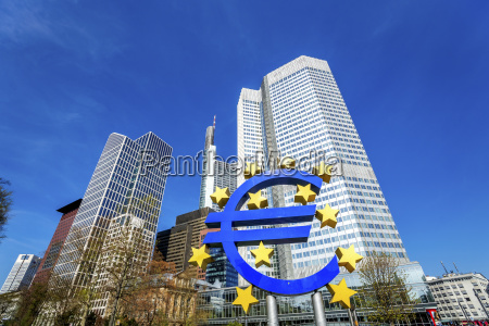 germany frankfurt euro symbol and skyscrapers