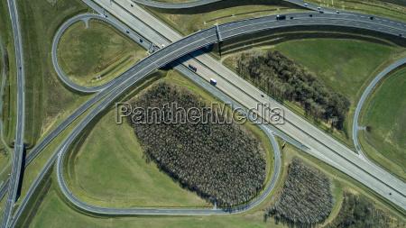 aerial view of highways in field