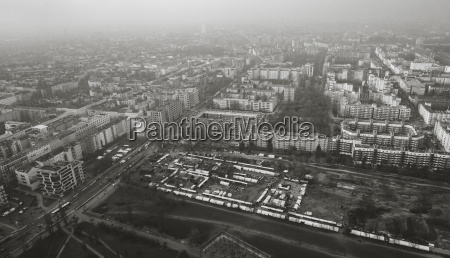 aerial view of cityscape during foggy