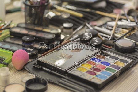 various make up equipment on messy