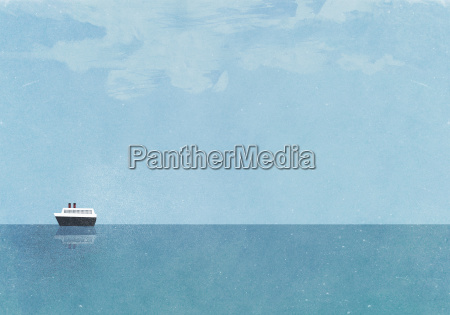 cruise ship moving on sea against