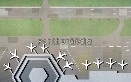 high angle view of airplanes at