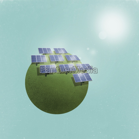 little planet image of solar panels