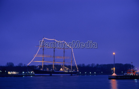 nightly lighted sailing ship passat in