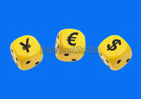 dice with the currency symbols yen