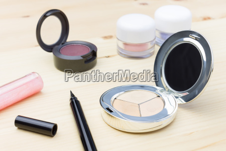 cosmetic foundation and eye liner and