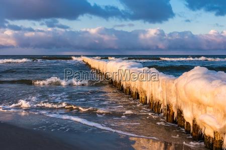 groyne on the baltic coast in