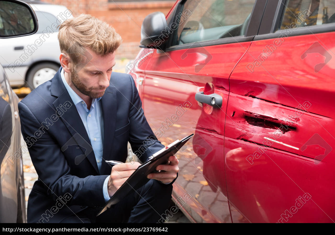 Car Insurance After Accident >> Royalty Free Image 23769642 Insurance Agent Examining Car After Accident