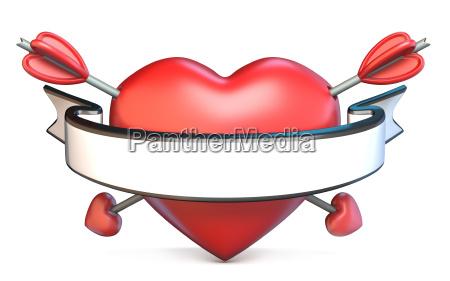 heart pierced by arrow and blank
