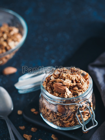 homemade granola in glass jar on