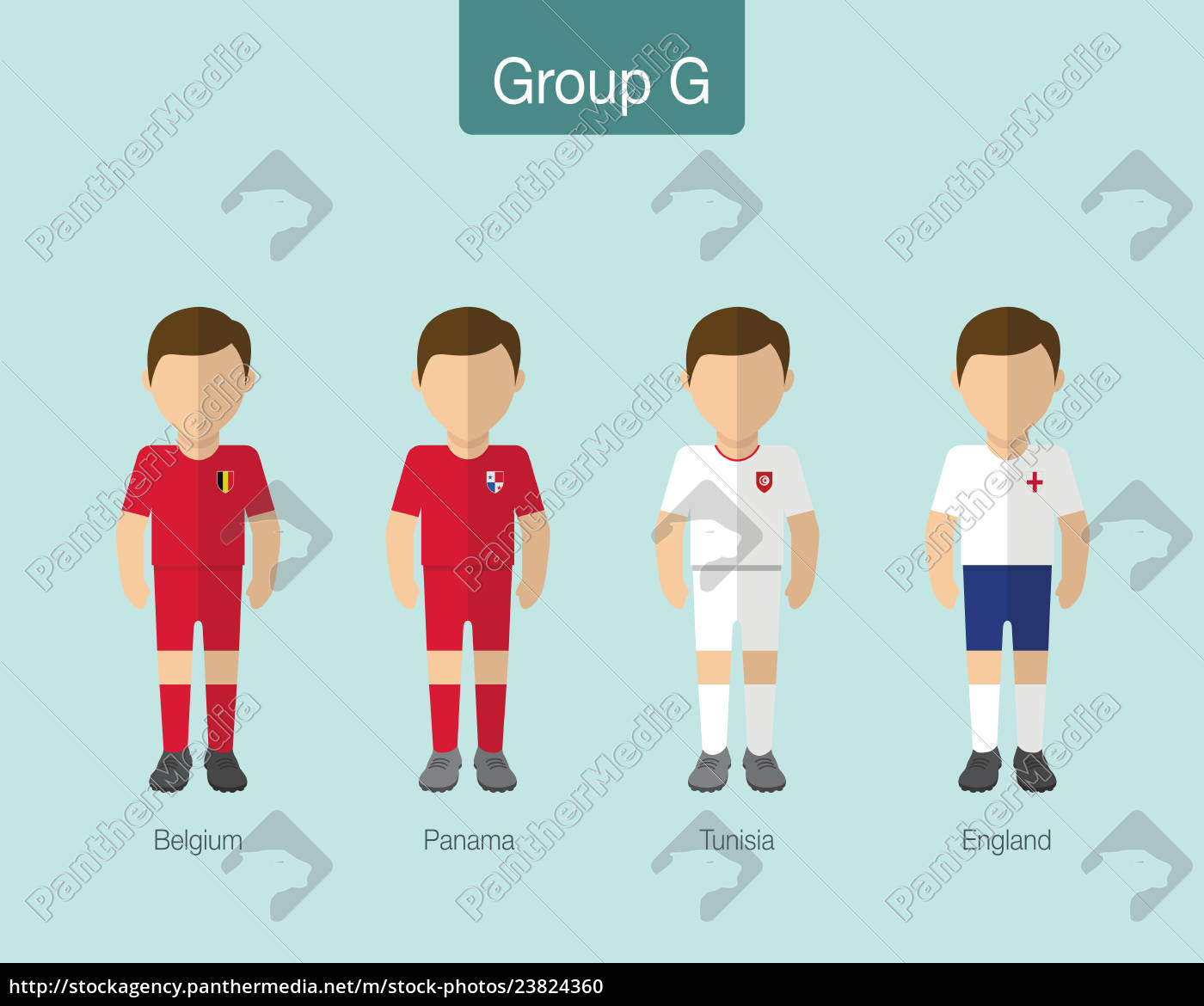 Royalty free vector 23824360 - 2018 Soccer or football team uniform Group G  with BELGIUM