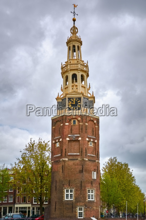 clock tower in amsterdam