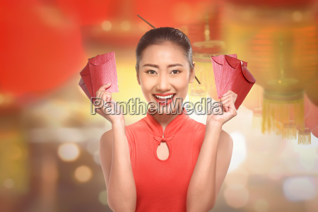 young chinese woman in a cheongsam