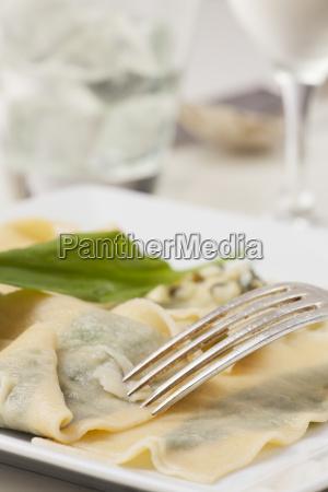 fresh wild garlic pasta with fork