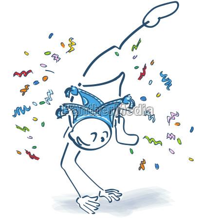 stick figure makes a leap confetti