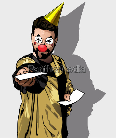clown holding invitations on party