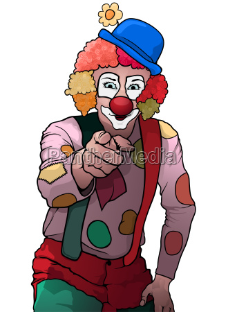 colorful party clown pointing