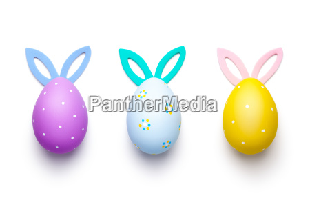 easter eggs with bunny ears isolated