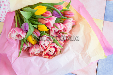 colorful tulips in tissue paper