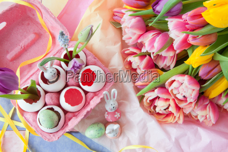 colorful tulips and decoration for easter