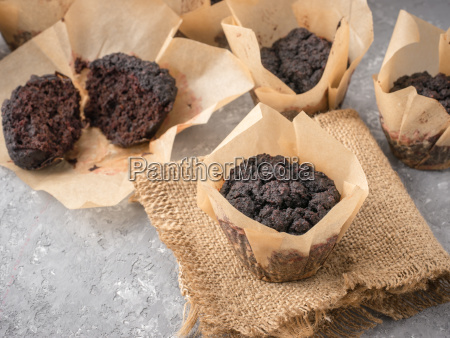 chocolate muffins with beetroot close up