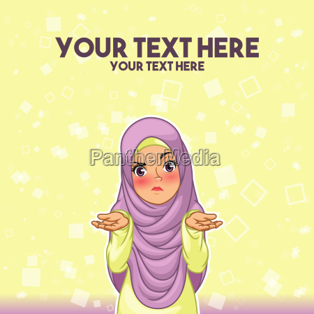 muslim woman wearing headscarf hijab shrugging