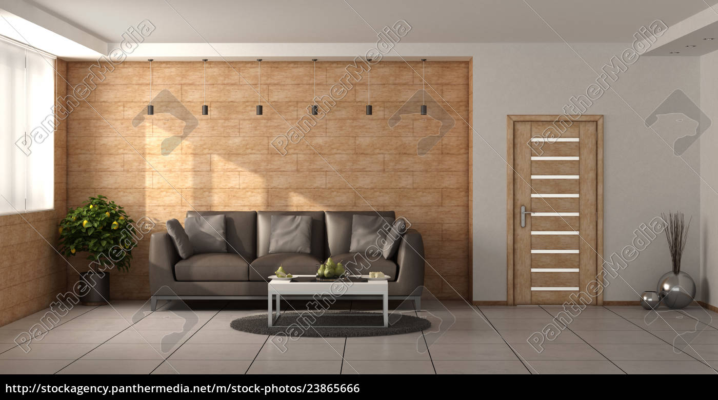 Royalty free image 23865666 - Modern living room with wooden walls