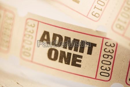 closeup of tickets