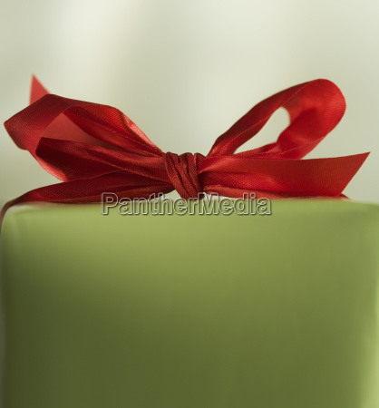 closeup of christmas present