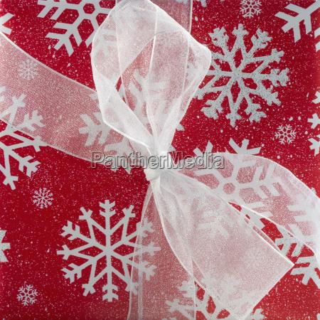 closeup of a christmas present
