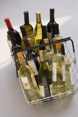 shopping basket filled with wine