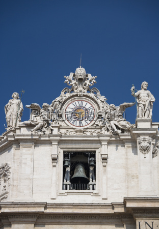 clock on st peters basilica italy