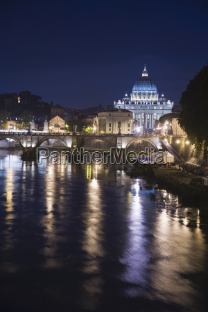 the tiber river with st peters