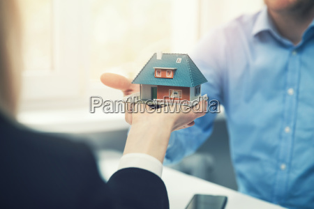 real estate agent or architect presenting