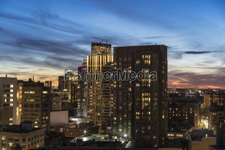downtown district at dusk