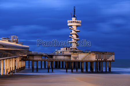 view of scheveningen pier at sunset