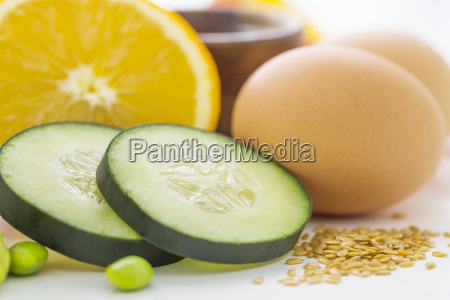 eggs with slices of cucumber and