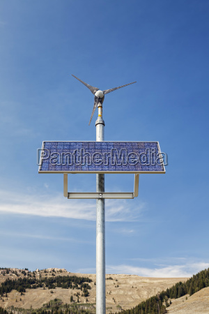 landscape with wind turbine and solar